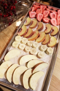 Home freeze dried fruit on a tray