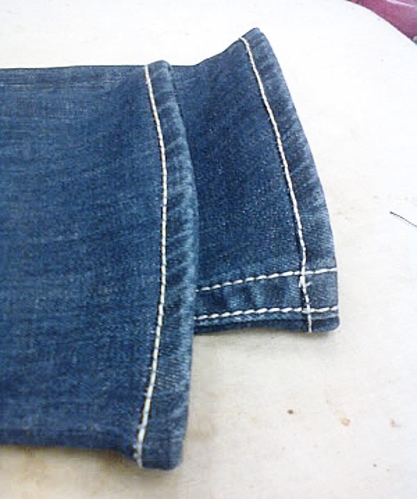 hemmed jeans finished