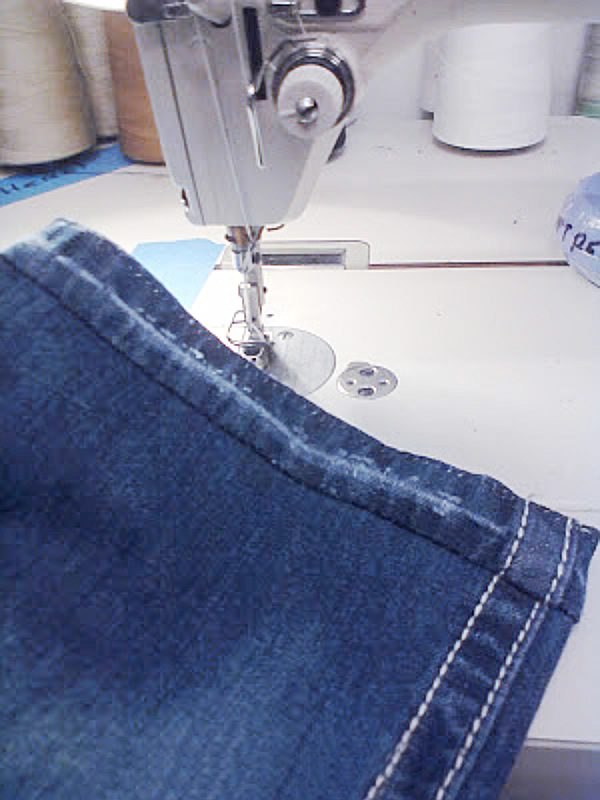 jeans hemmed with original hem sewn back on