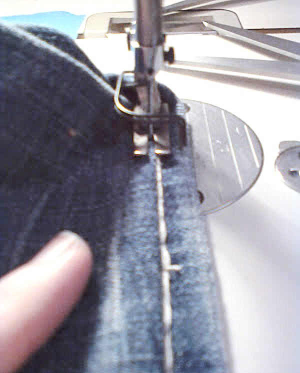 final topstitching on hemmed jeans