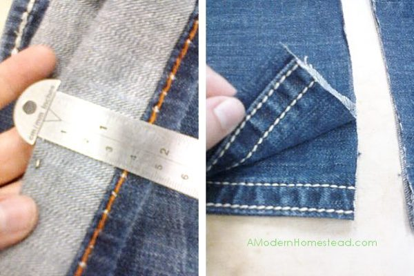 jeans in the process of being hemmed