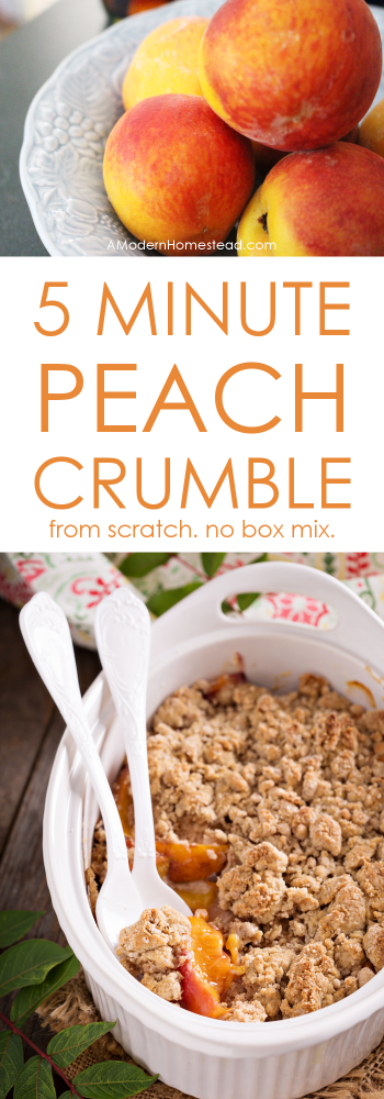This peach crumble captures all the flavors of a traditional peach cobbler, but you can have it in the oven in about 5 minutes! No box mixes, just real, from-scratch cooking in a hurry.