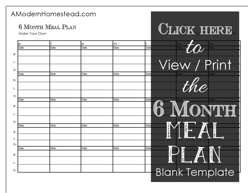 Six month meal plan for Creation plan