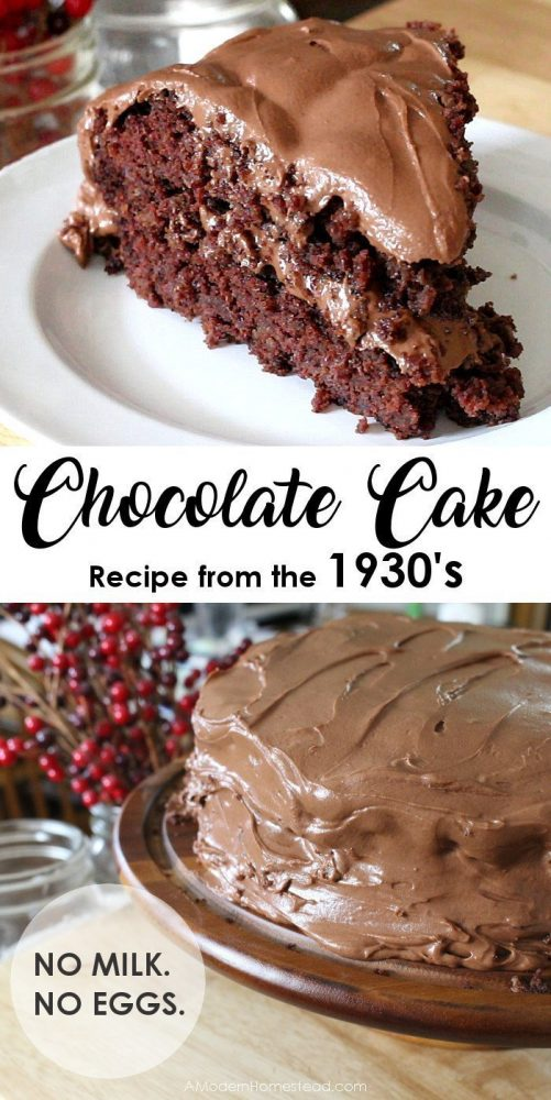 This chocolate cake recipe originates from the Great Depression, when such things as eggs and milk were scares. Unlike most chocolate cake recipes, it calls for neither! Also known as a Crazy Cake or Wacky Cake this egg and milk free chocolate cake is perfect for those with allergies!