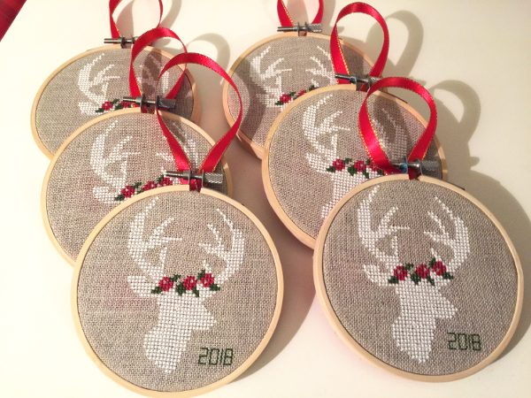 set of 6 christmas cross stitch ornaments