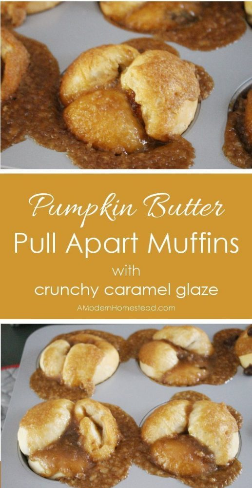 Pull apart muffins filled with pumpkin butter and finished off with a crunchy caramel glaze. The perfect fall breakfast with a cup of coffee and a good book!