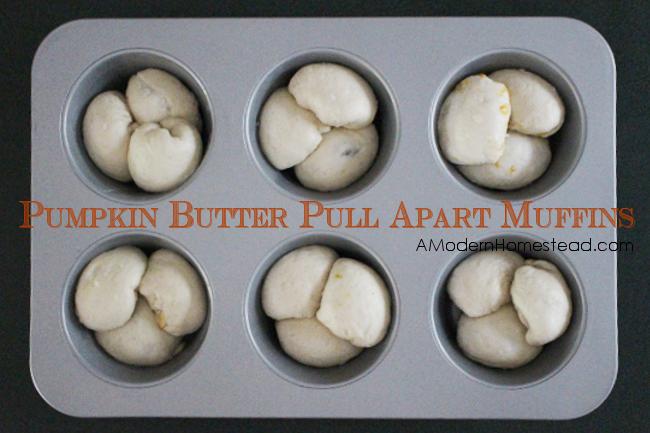 Pumpkin Butter filled Pull Apart Muffins with Crunchy Caramel Glaze