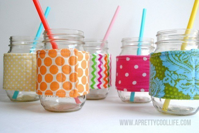 Mason jar cozies made with scrap fabric