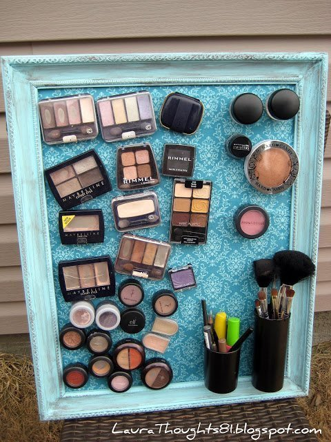 DIY make up magnet board made from repurposed items
