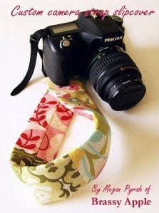 Fabric camera strap made from fabric scraps