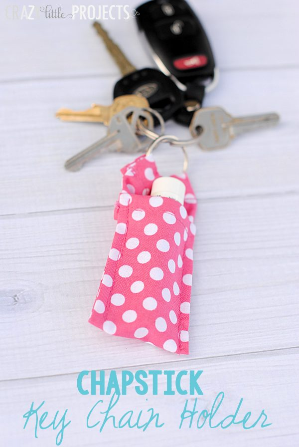 Chapstick keychain holder from scrap fabric