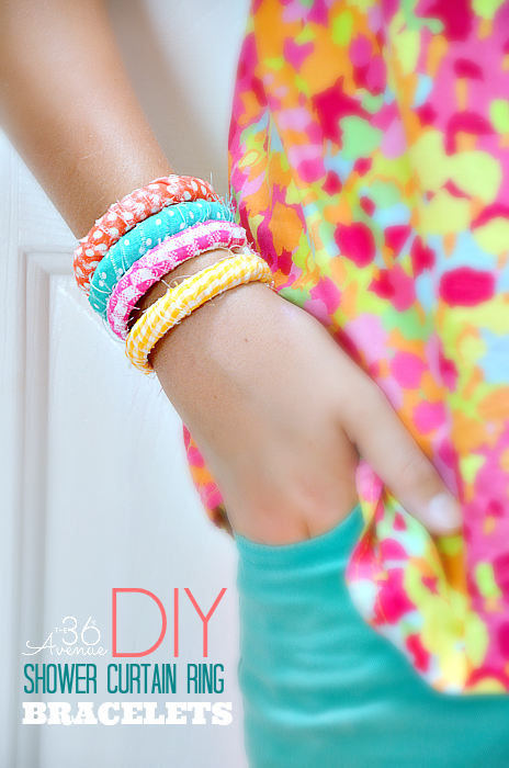 DIY bracelet made from repurosed shower curtain rings and scrap fabric