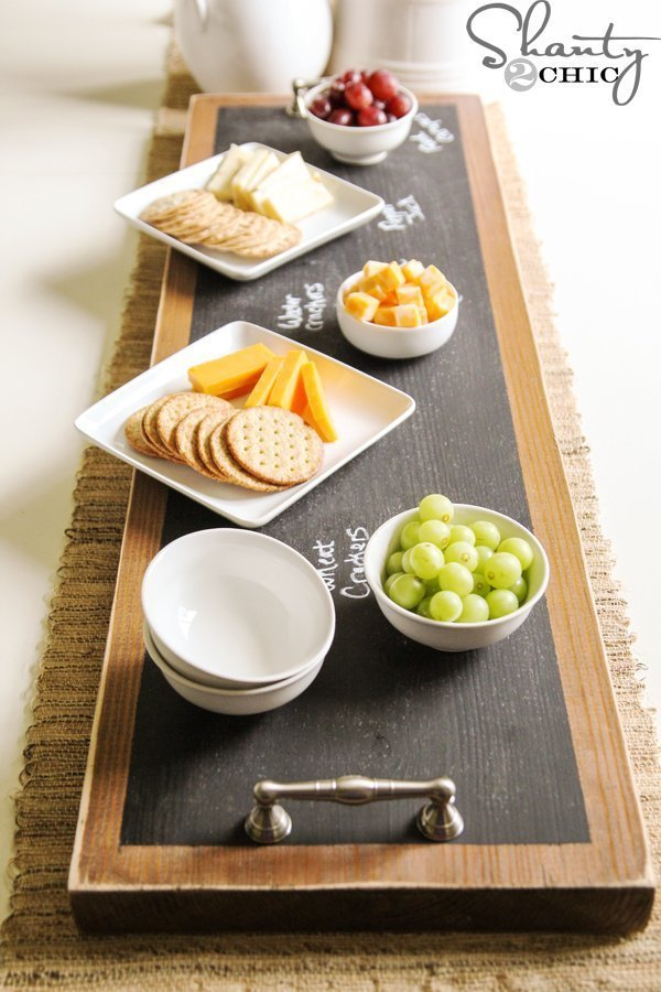 chalkboard serving tray made with scrap wood