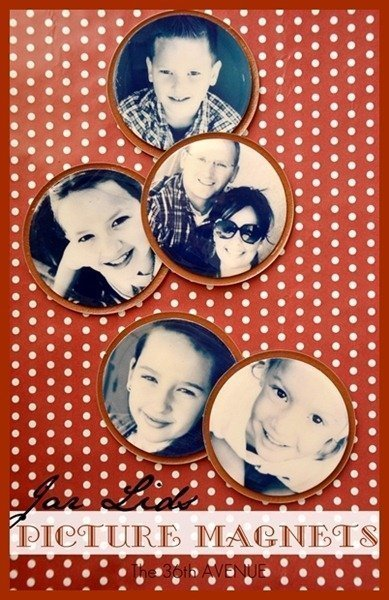 DIY Photo magnets made from repurposed canning lids