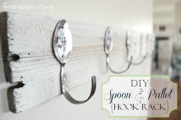 scrap wood wall rack with spoon hangers