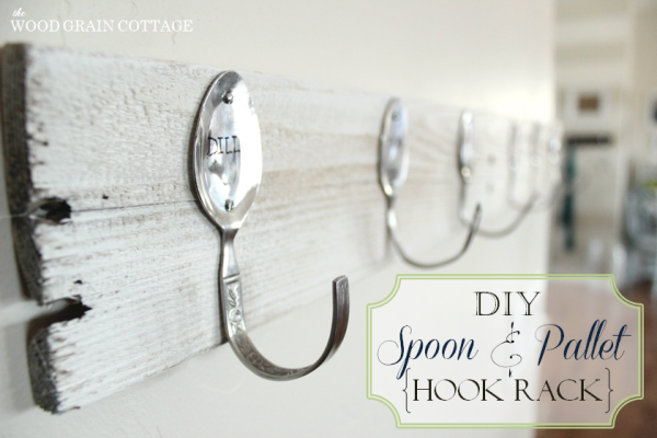 scrap wood wall rack with spoon hangers