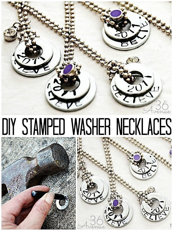 DIY Necklace made from repurposed metal washers