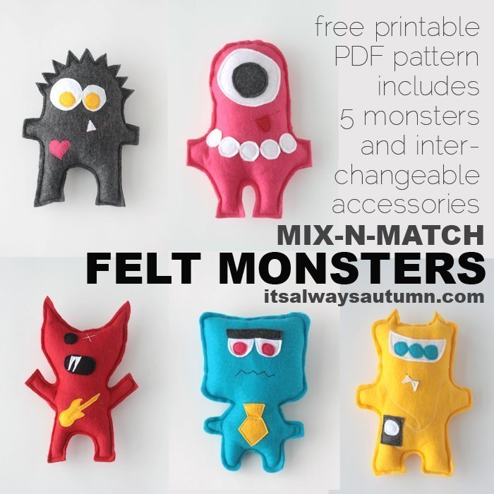 DIY felt monsters fun gift ideas for kids