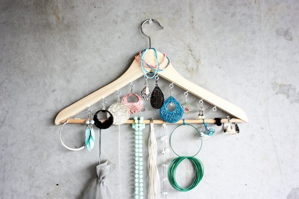 DIY Jewelry organizer made from a repurposed wooden hanger