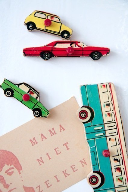 DIY wooden magnets made from repurposed wooden puzzle pieces