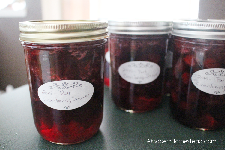 Closeup of finished homemade cranberry sauce recipe in jars.