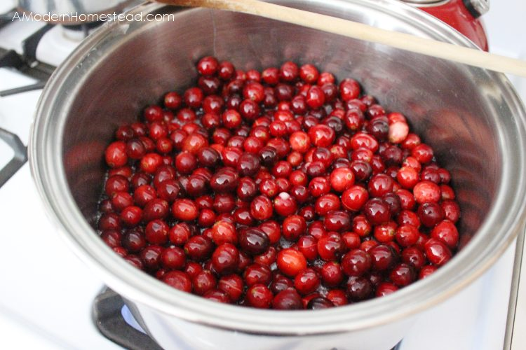 Whole cranberries boiling for homemade cranberry sauce.
