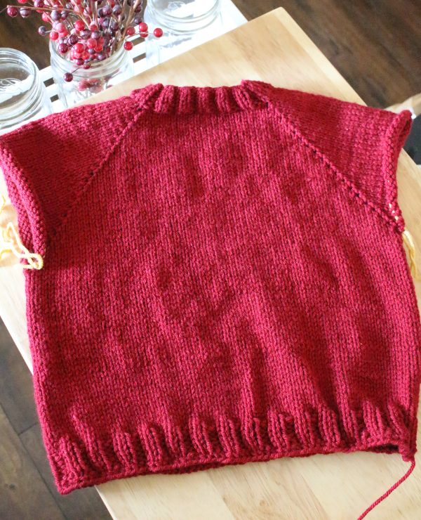Weasley Sweater with sleeves on yarn ready to knit.