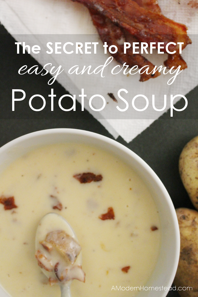 The secret to a thick and creamy potato soup is so easy! I'm so glad I found this, I LOVE potato soup!!