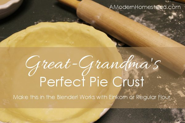 Great-Grandma's Perfect Pie Crust! This is seriously easy to make. Light and flaky and perfect for savory or sweet. Works perfectly as an einkorn pie crust too!
