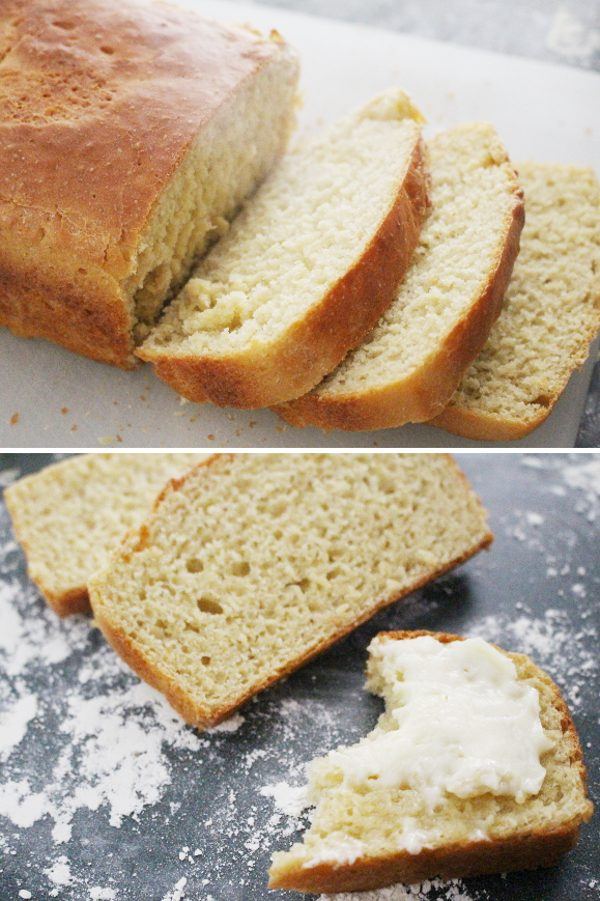 einkorn bread loaf sliced with butter