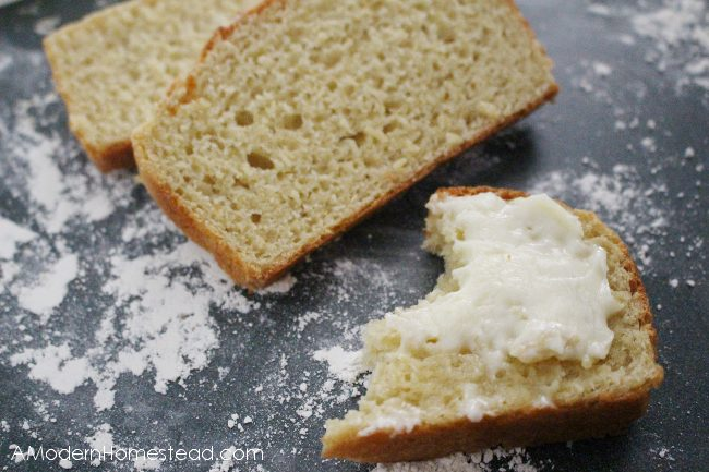 einkorn bread slices with butter