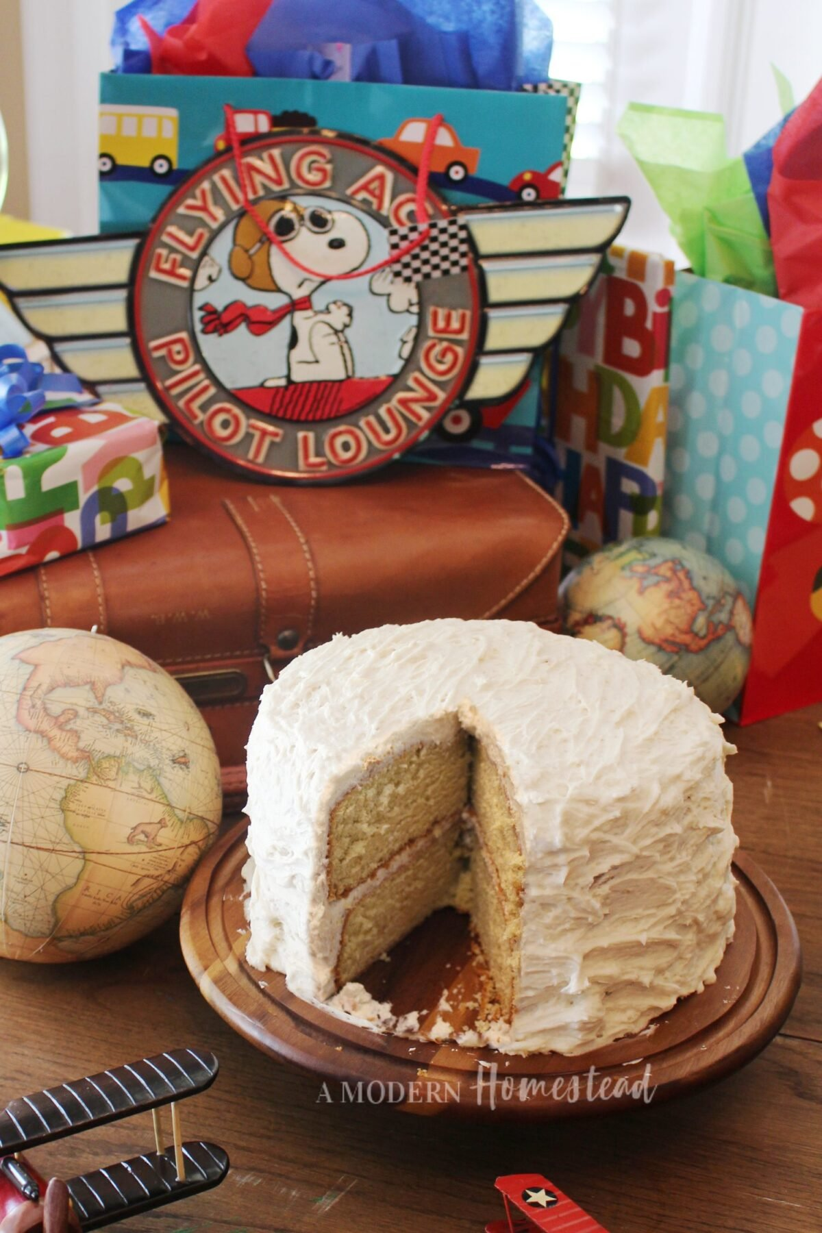 einkorn vanilla birthday cake with buttercream icing