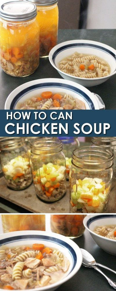 Chicken Soup: For canning or having for dinner tonight! Chicken bone broth is seriously so easy and turning it into soup makes a rich, nutritious and really cheap meal. Just $1 per serving! Chicken bone broth soup with canning instructions, I'm doing this asap!!