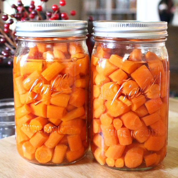 Home canned carrots in mason jars