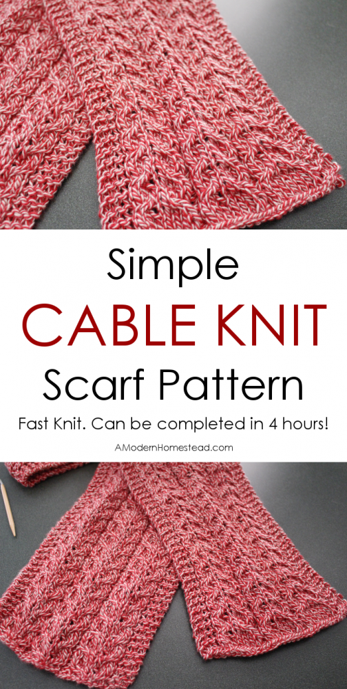 Knitting Pattern For Simple Scarf : Simple Cable Knit Scarf
