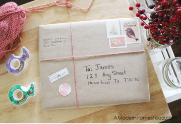 Santa's Workshop Gift Wrapping Idea + Free Christmas Stamps!