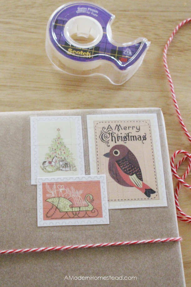 Placing stamps on DIY christmas gift wrapping job