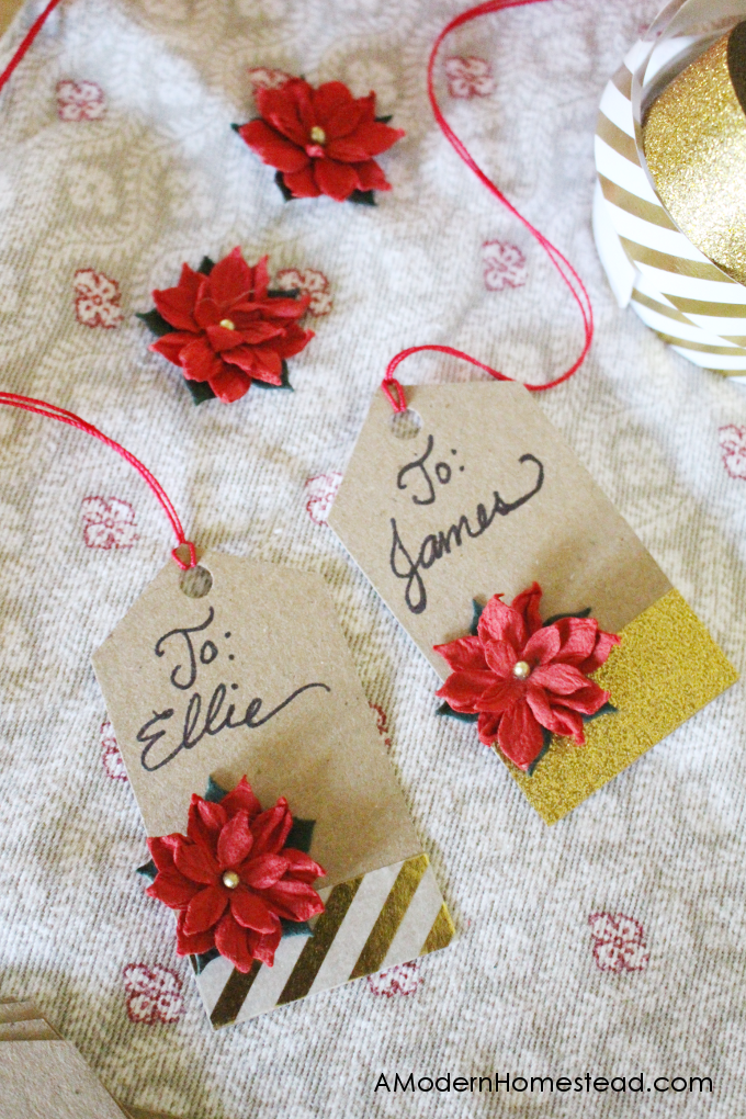 Finished Christmas gift tags with names