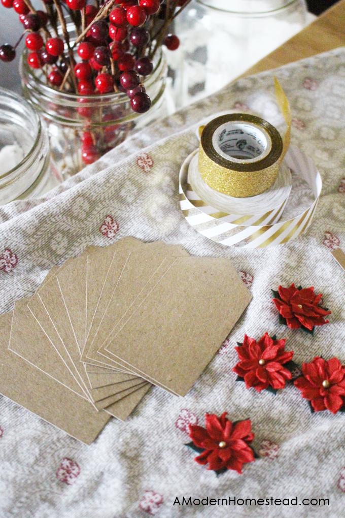 Supplies to make christmas gift tags