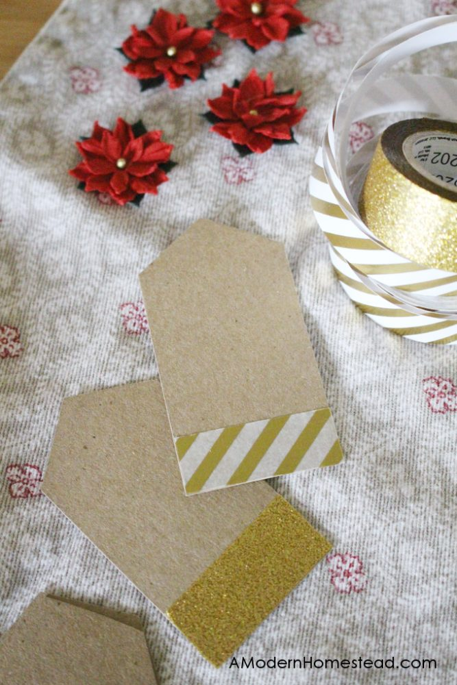 Finished tape along bottom of gift tags