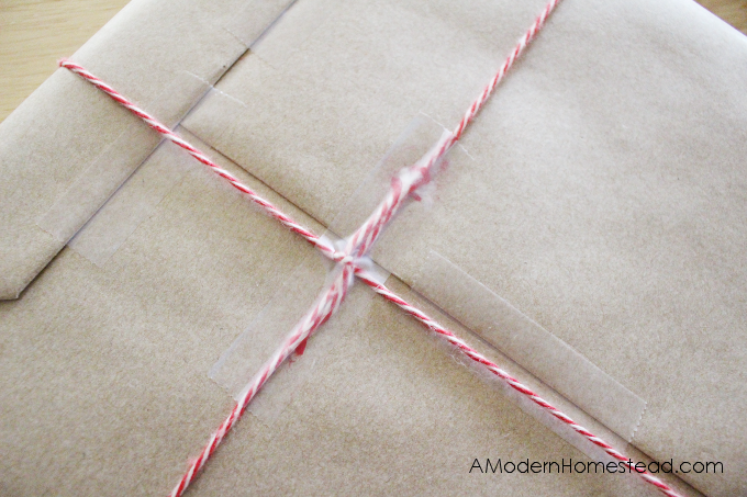 Taped twine on DIY gift wrapping idea