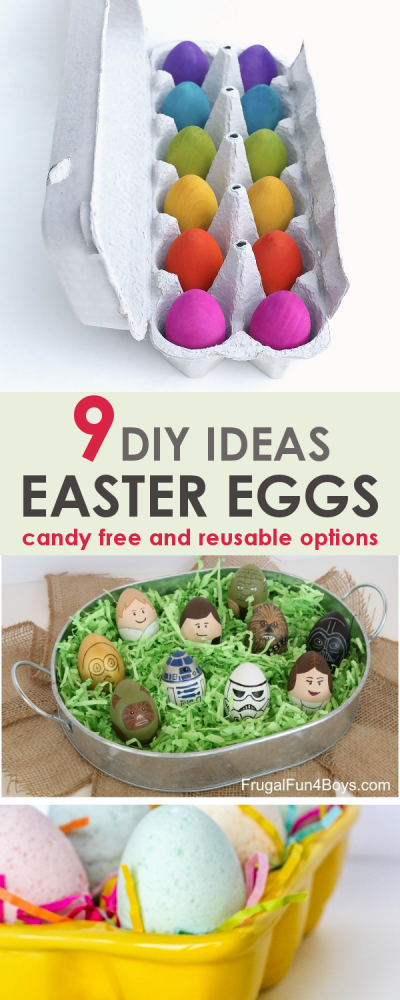 These DIY Easter eggs ideas are candy free and include reusable options! Skip the plastic Easter eggs this year and switch to one or two of these ideas for a sustainable Easter tradition!