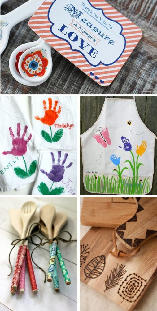 Photo collage showing DIY gifts ideas perfect for christmas or mothers day gifts for mom. Handprint apron, handprint dish towels, etched wooden cutting board, fabric covered wooden spoons, and a measuring spoon set with printable card that says