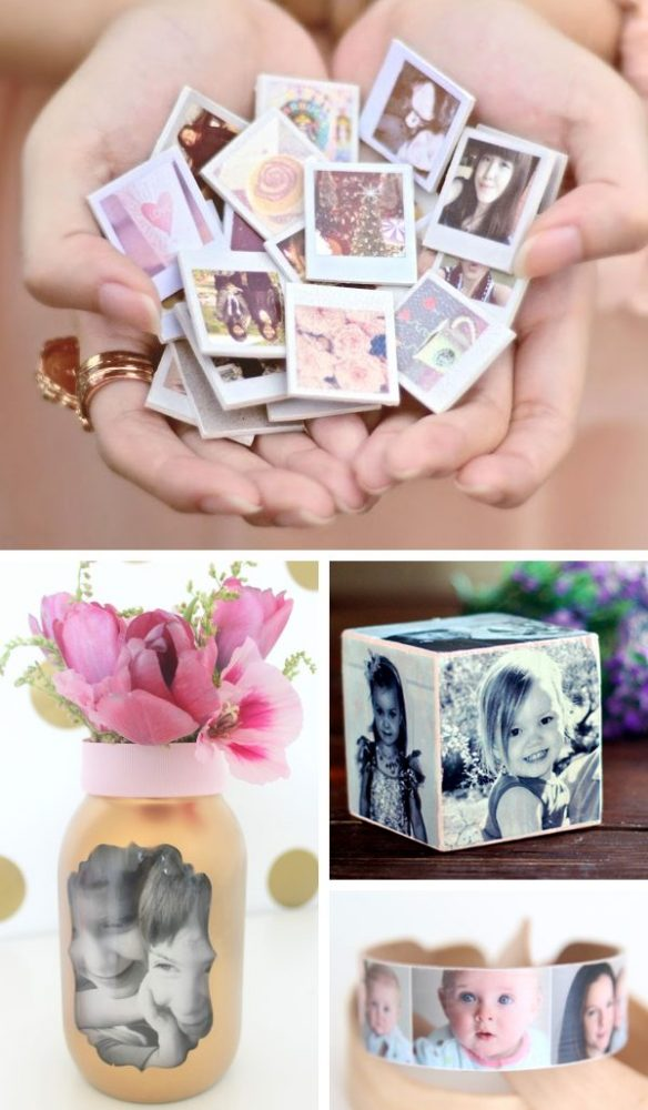 Photo collage showing photo based crafts, perfect for DIY gifts for mom. A handful of Polaroid style photo refrigerator magnets, mason jar picture vase, Popsicle stick photo bracelet, and diy photo cube.