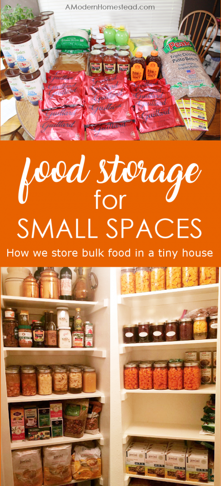 Find out how we store a year supply of food in our 800 square foot home with these tips for bulk food storage in small spaces.