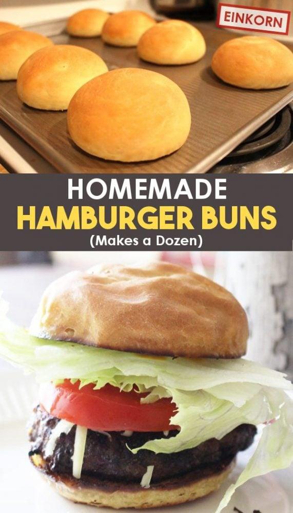 homemade hamburger buns on a tray