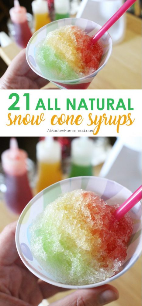 All natural snow cones made with homemade snow cone syrup. Organic, no artificial dyes! 21 different flavors and recipes for shaved ice syrup!