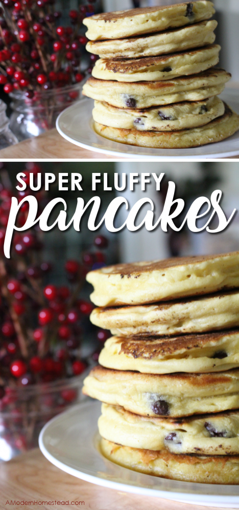 The easy pancake recipe that you can make again and again without fail! Takes only minutes to make an entire batch of thick, fluffy, delicious, pancakes!