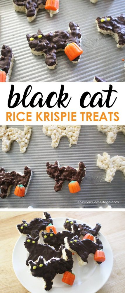 These easy Halloween rice krispie treats are perfect for class parties, lunch boxes, or even a dessert for an event! These dark chocolate black cat krispie treats are a simple twist on a classic dessert!