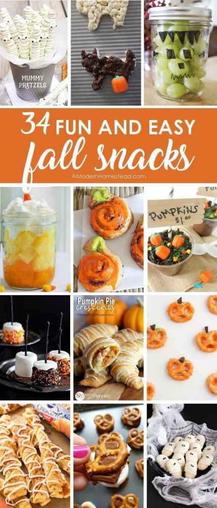 34 Easy fall snack ideas that will help you make the most of the season without taking up too much of your time! Great for fall lunches, or fall classroom parties!